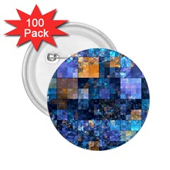 Blue Squares Abstract Background Of Blue And Purple Squares 2 25  Buttons (100 Pack)