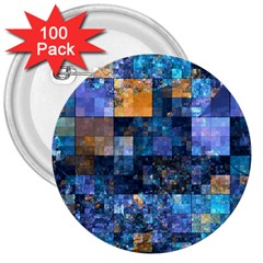 Blue Squares Abstract Background Of Blue And Purple Squares 3  Buttons (100 Pack)