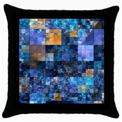 Blue Squares Abstract Background Of Blue And Purple Squares Throw Pillow Case (black) by Nexatart