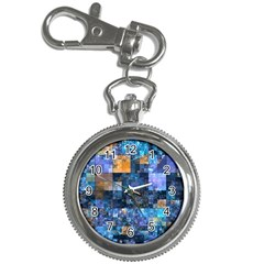 Blue Squares Abstract Background Of Blue And Purple Squares Key Chain Watches by Nexatart
