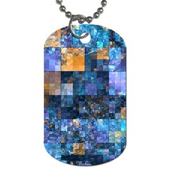 Blue Squares Abstract Background Of Blue And Purple Squares Dog Tag (two Sides) by Nexatart