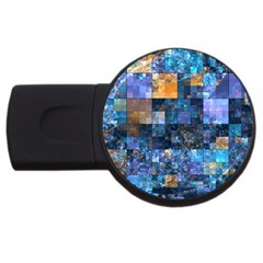 Blue Squares Abstract Background Of Blue And Purple Squares Usb Flash Drive Round (2 Gb)
