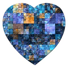 Blue Squares Abstract Background Of Blue And Purple Squares Jigsaw Puzzle (heart) by Nexatart
