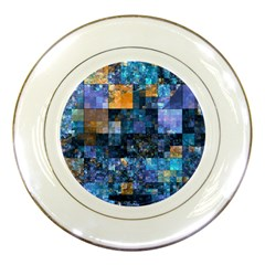 Blue Squares Abstract Background Of Blue And Purple Squares Porcelain Plates