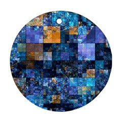 Blue Squares Abstract Background Of Blue And Purple Squares Round Ornament (two Sides) by Nexatart