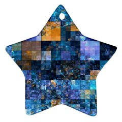 Blue Squares Abstract Background Of Blue And Purple Squares Star Ornament (two Sides) by Nexatart
