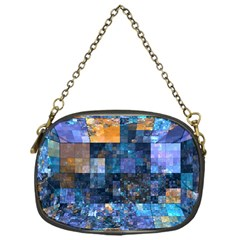 Blue Squares Abstract Background Of Blue And Purple Squares Chain Purses (one Side)  by Nexatart
