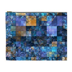 Blue Squares Abstract Background Of Blue And Purple Squares Cosmetic Bag (xl)