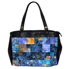 Blue Squares Abstract Background Of Blue And Purple Squares Office Handbags (2 Sides)  by Nexatart