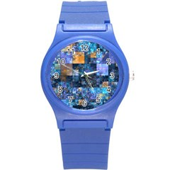 Blue Squares Abstract Background Of Blue And Purple Squares Round Plastic Sport Watch (s) by Nexatart
