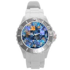 Blue Squares Abstract Background Of Blue And Purple Squares Round Plastic Sport Watch (l)