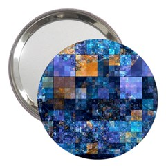 Blue Squares Abstract Background Of Blue And Purple Squares 3  Handbag Mirrors