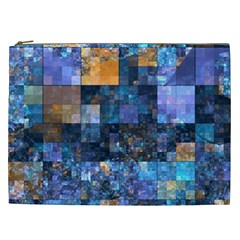 Blue Squares Abstract Background Of Blue And Purple Squares Cosmetic Bag (xxl)  by Nexatart