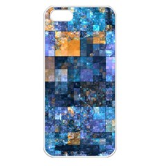 Blue Squares Abstract Background Of Blue And Purple Squares Apple Iphone 5 Seamless Case (white) by Nexatart