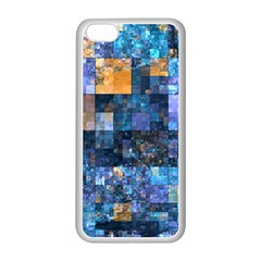 Blue Squares Abstract Background Of Blue And Purple Squares Apple Iphone 5c Seamless Case (white)