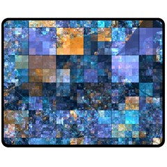 Blue Squares Abstract Background Of Blue And Purple Squares Double Sided Fleece Blanket (medium)