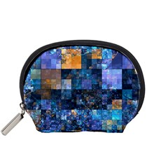 Blue Squares Abstract Background Of Blue And Purple Squares Accessory Pouches (small)  by Nexatart