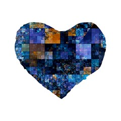 Blue Squares Abstract Background Of Blue And Purple Squares Standard 16  Premium Flano Heart Shape Cushions