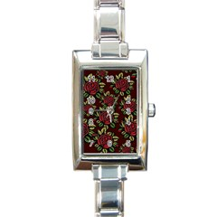 A Red Rose Tiling Pattern Rectangle Italian Charm Watch by Nexatart