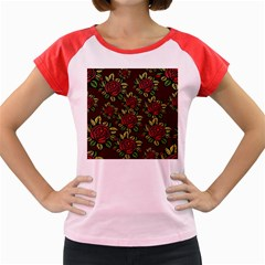 A Red Rose Tiling Pattern Women s Cap Sleeve T Shirt