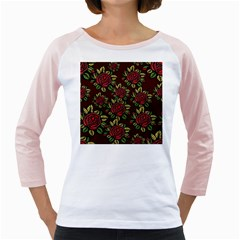A Red Rose Tiling Pattern Girly Raglans