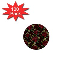 A Red Rose Tiling Pattern 1  Mini Magnets (100 Pack)  by Nexatart