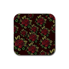 A Red Rose Tiling Pattern Rubber Coaster (square)