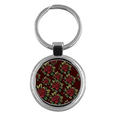 A Red Rose Tiling Pattern Key Chains (round)