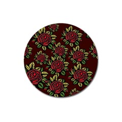 A Red Rose Tiling Pattern Magnet 3  (round)