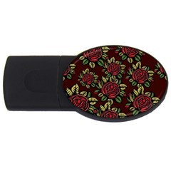A Red Rose Tiling Pattern Usb Flash Drive Oval (2 Gb)