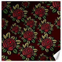 A Red Rose Tiling Pattern Canvas 16  X 16   by Nexatart