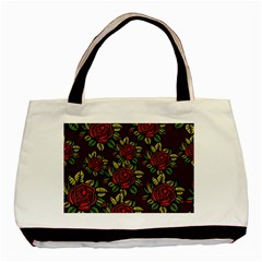 A Red Rose Tiling Pattern Basic Tote Bag (two Sides)