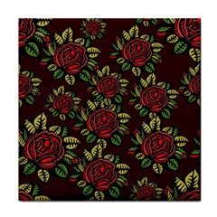 A Red Rose Tiling Pattern Face Towel
