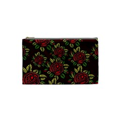 A Red Rose Tiling Pattern Cosmetic Bag (small)  by Nexatart