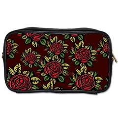A Red Rose Tiling Pattern Toiletries Bags 2 Side by Nexatart