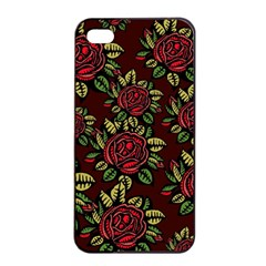 A Red Rose Tiling Pattern Apple Iphone 4/4s Seamless Case (black)