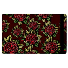 A Red Rose Tiling Pattern Apple Ipad 3/4 Flip Case