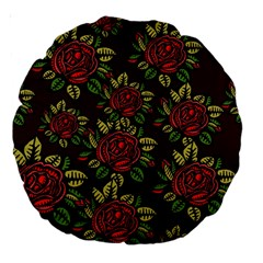 A Red Rose Tiling Pattern Large 18  Premium Round Cushions by Nexatart