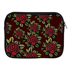 A Red Rose Tiling Pattern Apple Ipad 2/3/4 Zipper Cases