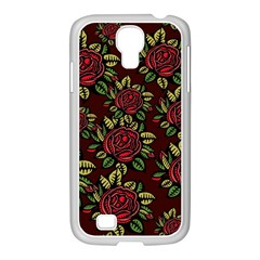 A Red Rose Tiling Pattern Samsung Galaxy S4 I9500/ I9505 Case (white) by Nexatart