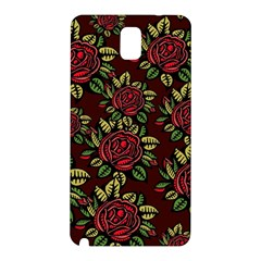 A Red Rose Tiling Pattern Samsung Galaxy Note 3 N9005 Hardshell Back Case by Nexatart