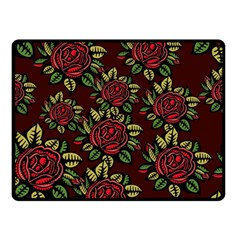 A Red Rose Tiling Pattern Double Sided Fleece Blanket (small)