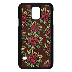 A Red Rose Tiling Pattern Samsung Galaxy S5 Case (black) by Nexatart