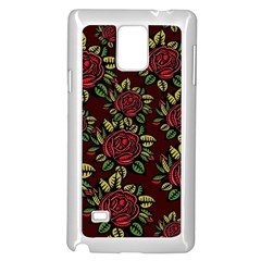 A Red Rose Tiling Pattern Samsung Galaxy Note 4 Case (white) by Nexatart