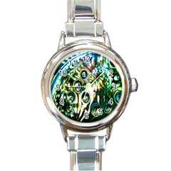 Dark Abstract Bubbles Round Italian Charm Watch by Nexatart