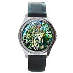 Dark Abstract Bubbles Round Metal Watch by Nexatart