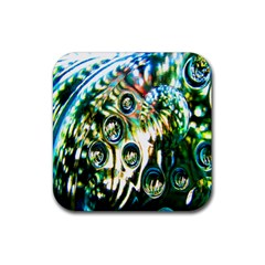 Dark Abstract Bubbles Rubber Coaster (square)  by Nexatart