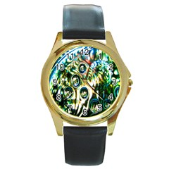 Dark Abstract Bubbles Round Gold Metal Watch by Nexatart