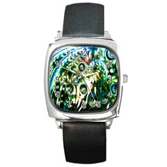 Dark Abstract Bubbles Square Metal Watch by Nexatart