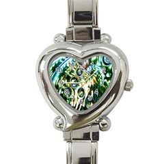 Dark Abstract Bubbles Heart Italian Charm Watch by Nexatart